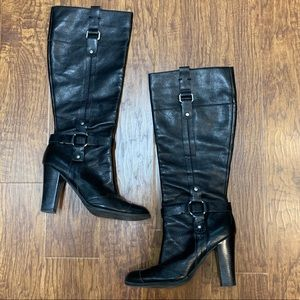 Nine West black leather high heel boots size 10